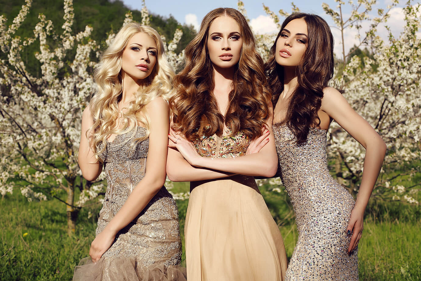 Three women with professional hair treatments